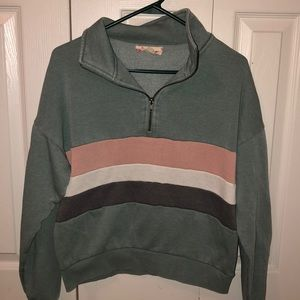 Green quarter zip with stripes